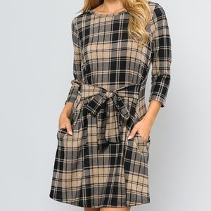 Waist Tie Plaid Dress